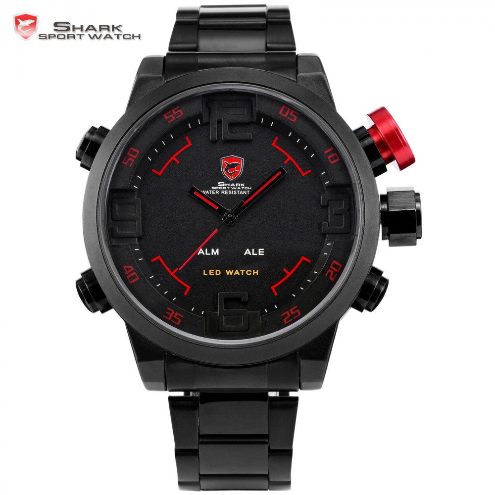 SHARK Steel Strap Sport Watch Brand Digital Dual Time Day LED Wristwatch