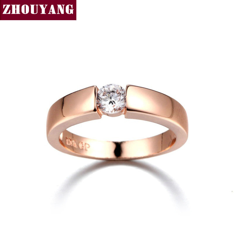 Hearts and Arrows Rose Gold / White Gold Plated Cubic Zirconia Wedding Ring