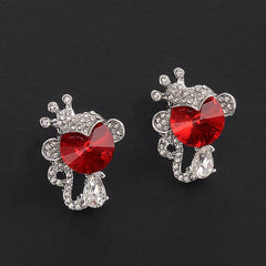Brincos Beautiful Crystal Rose Flower Earrings