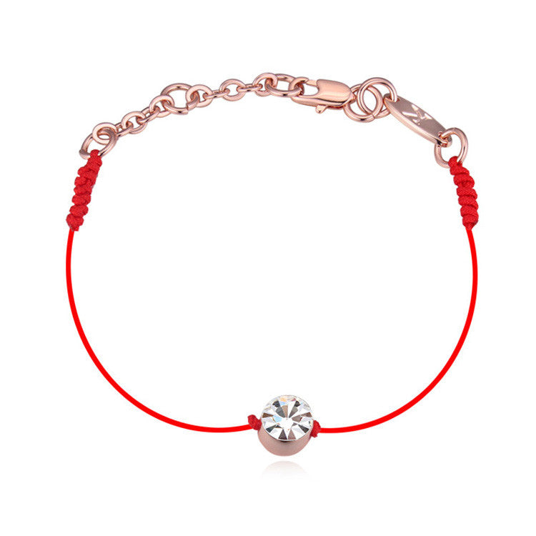 Thin Red Thread Rope Charm Bracelet Austrian Crystals