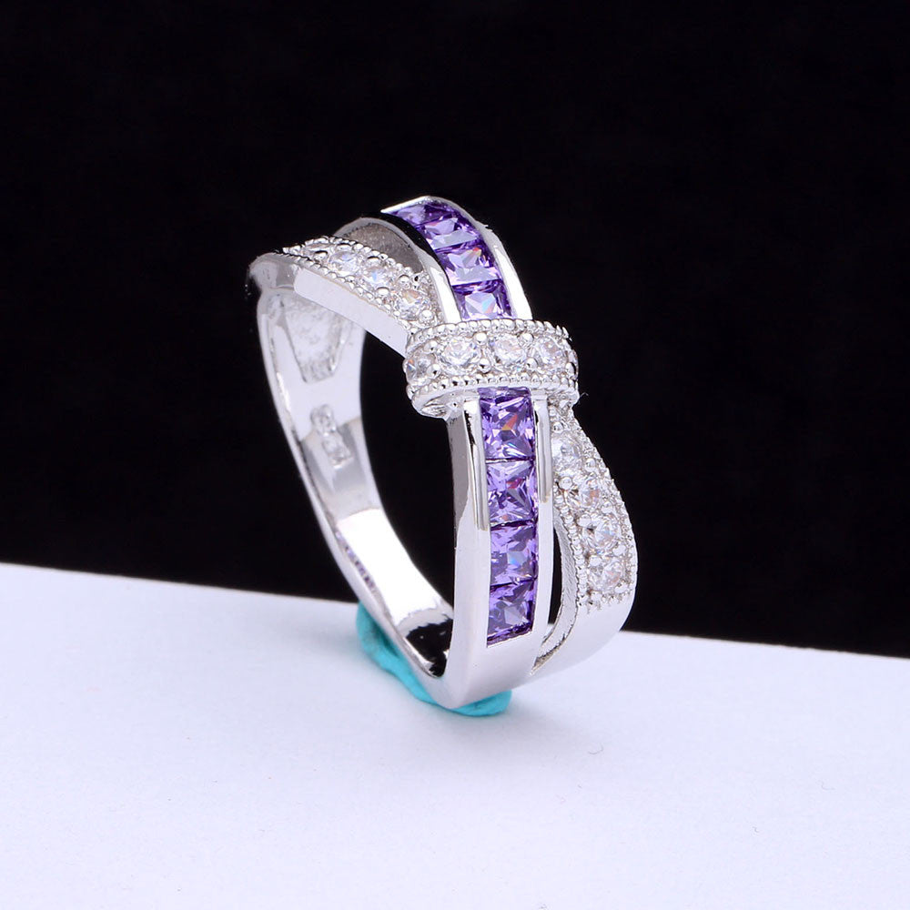 Amethyst Criss Cross Paved Cubic Zirconia Wedding / Engagement Ring