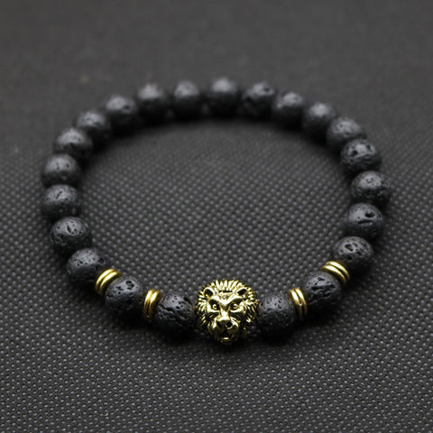 Antique Gold Plated Black Lava Stone Beaded Buddha Lion Head Bracelet Unisex