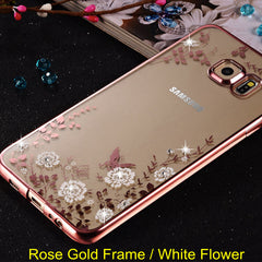 Flower Diamonds Clear Case Cover For Samsung Galaxy A3 A5 A7 2016 2015 J3 J5 J7 Grand Prime S3 S4 S5 S6 S7 Edge Soft Case