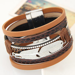 Fashion Alloy Feather Leaves Wide Leather Bracelet