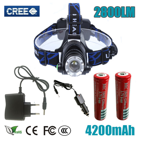 Adjustable Zoomable LED Headlight  2800lm Battery