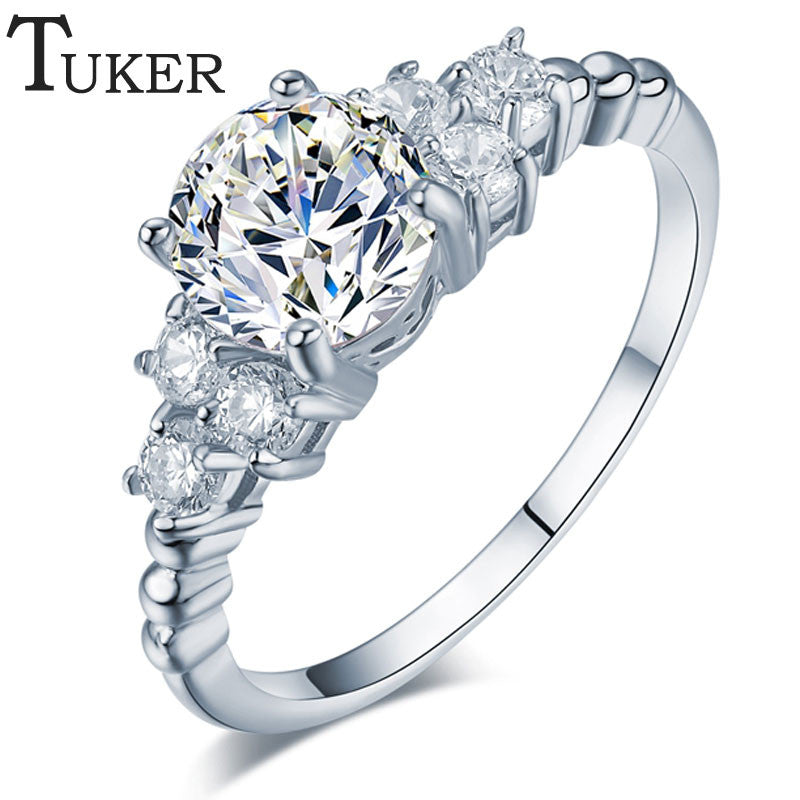 TUKER Womens White Gold Plated Cubic Zirconia Wedding Engagement Ring