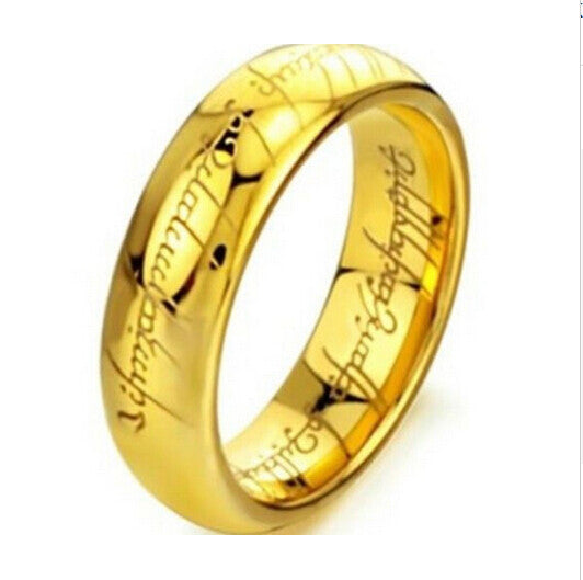 Gold & Silver Ring Vintage Jewelry Laser Engraved Stainless Steel Ring Unisex