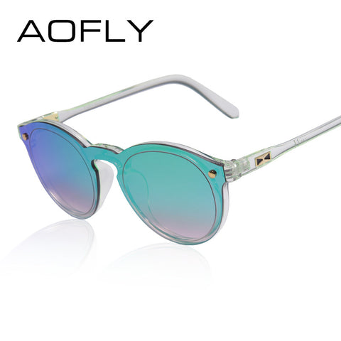 AOFLY Oval Shaped Reflective Mirror Sunglasses