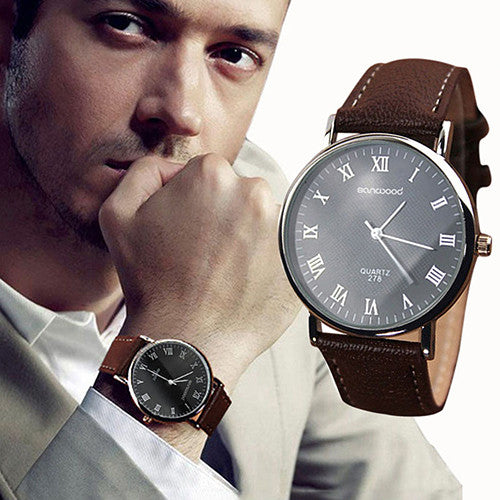Mens Roman Numerals Faux Leather Band Quartz Analog Wristwatch