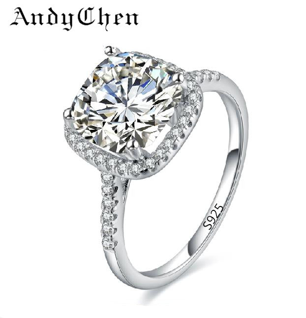 Silver Plated Square Cubic Zirconia Engagement Wedding Ring