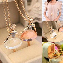 Crystal Ballet Girl Chic Bib Choker Pendant Necklace