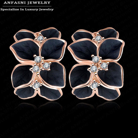 ANFASNI Milan Fashion Design Rose Gold Plated Flower Earrings