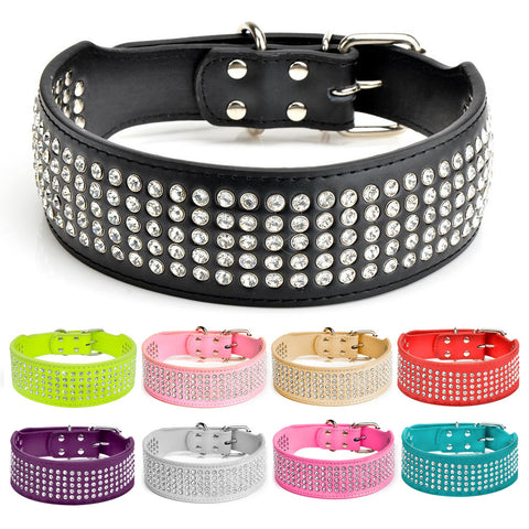5 Rows of Rhinestones Dog Collar
