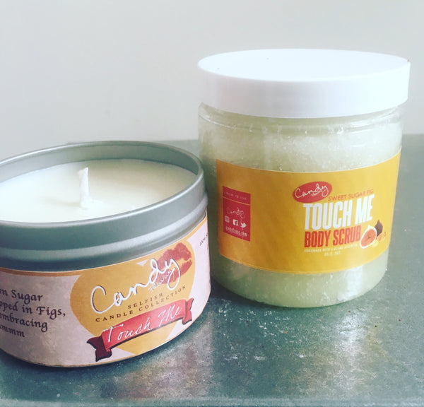 Touch Me Dou Set - 8 oz. Sugar Scrub and Soy Candle