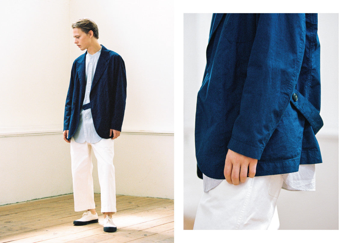 Document Indigo Lab Jacket Eastlogue Pinstripe Banded Collar