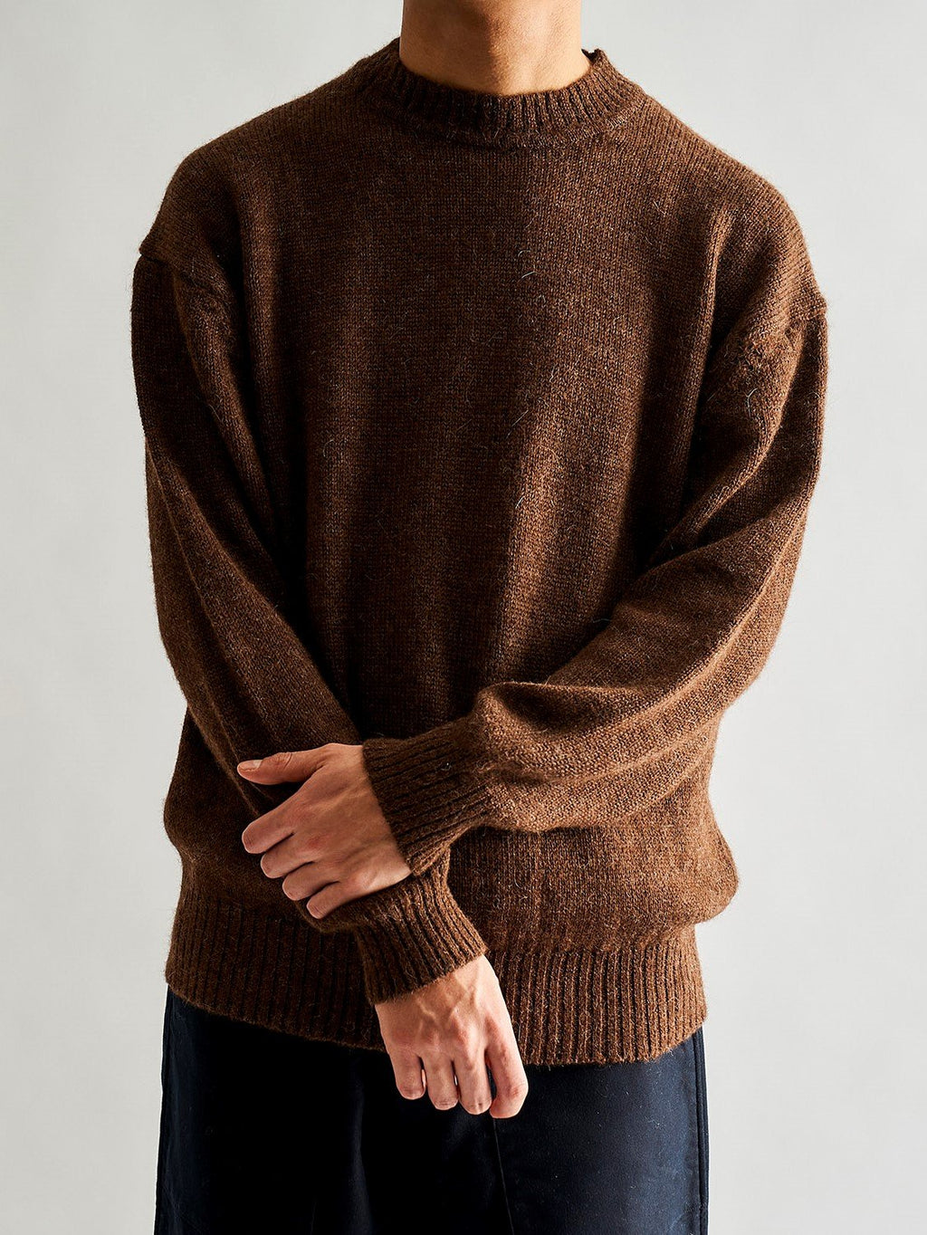 Baby Alpaca Crewneck Knit - Walnut