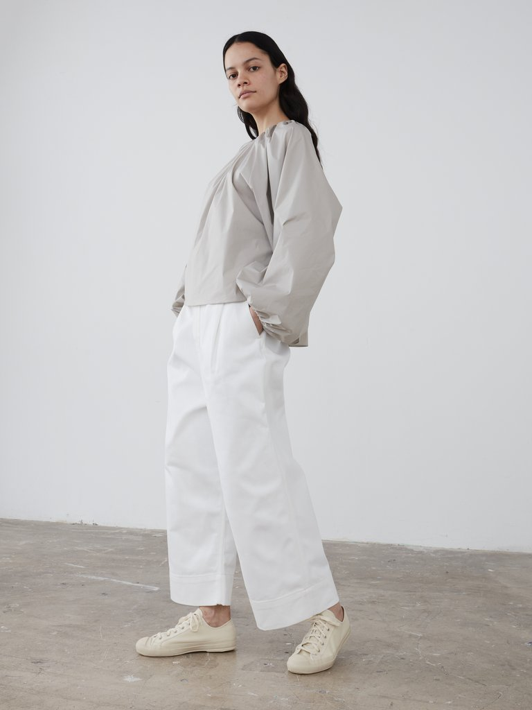 Namu Shop - Studio Nicholson Greta Pleat Front Wide Leg Pant - White Denim