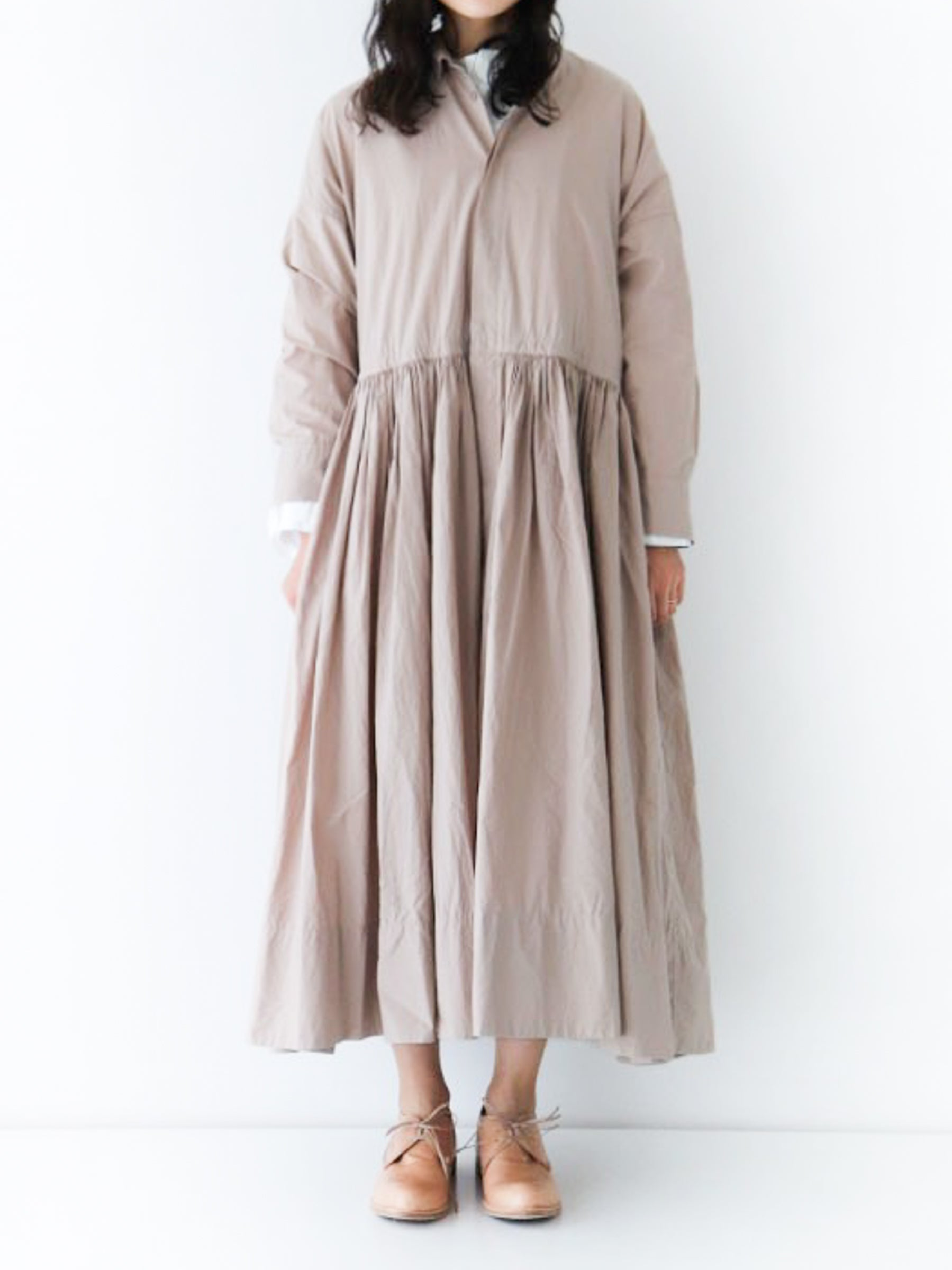 Gather Shirt Dress - Beige