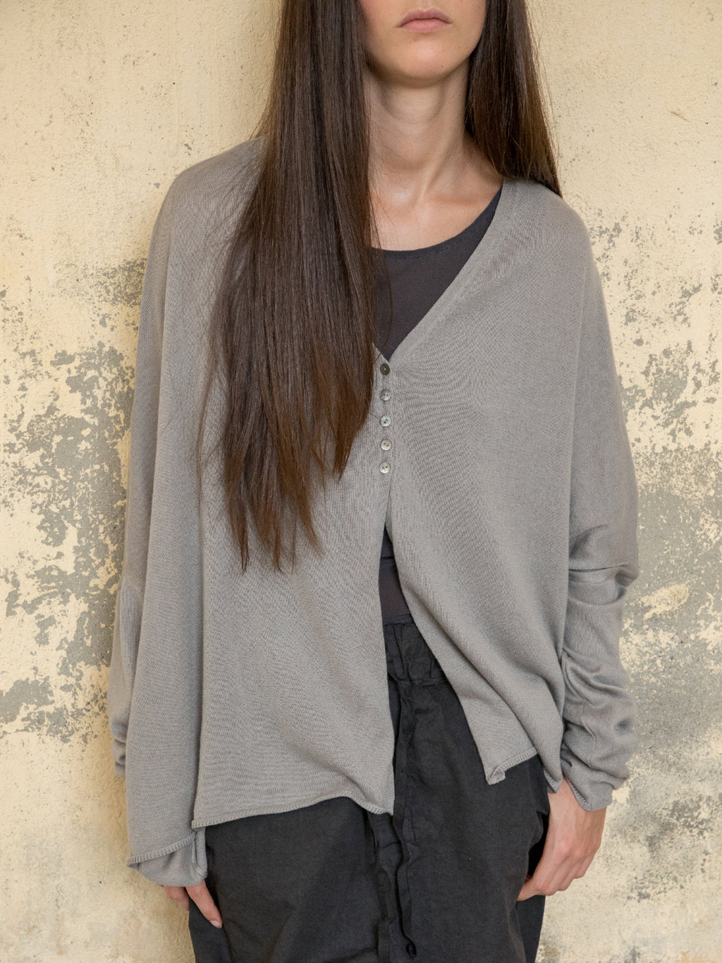 Oversized Knitted Cardigan - Gray