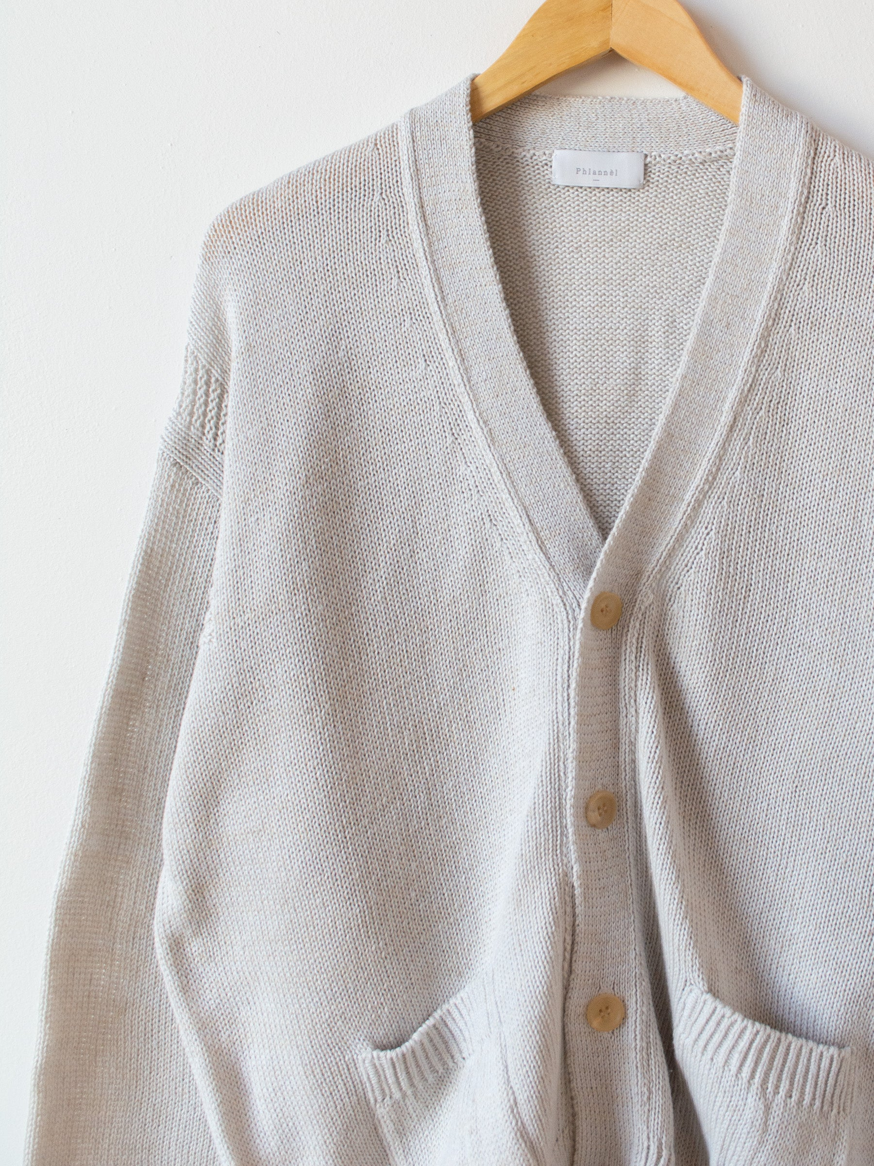 Cotton Linen Guernsey Cardigan - Light Gray Mix