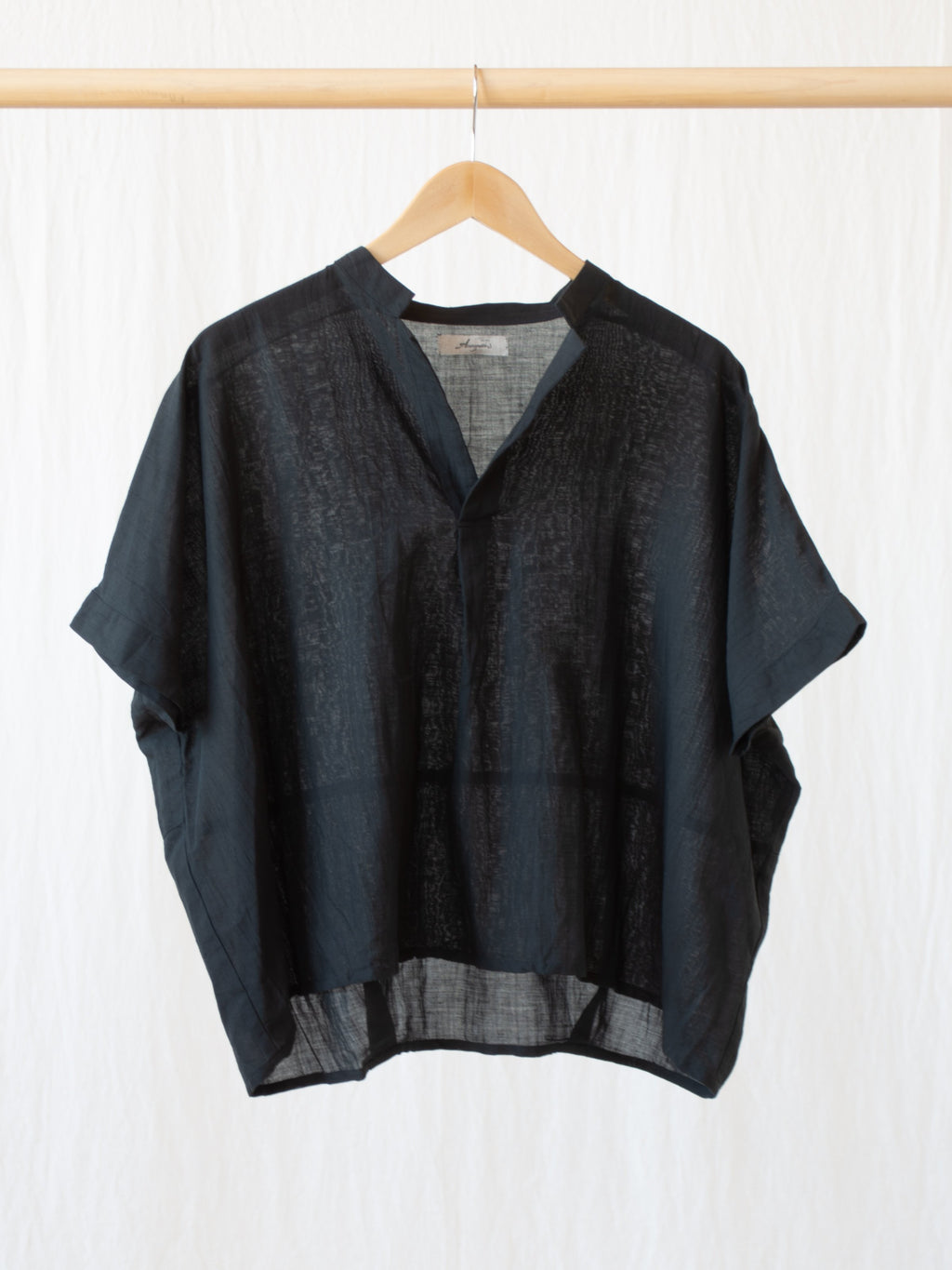 Namu Shop - Ichi Antiquites Cotton Linen Blouse - Black