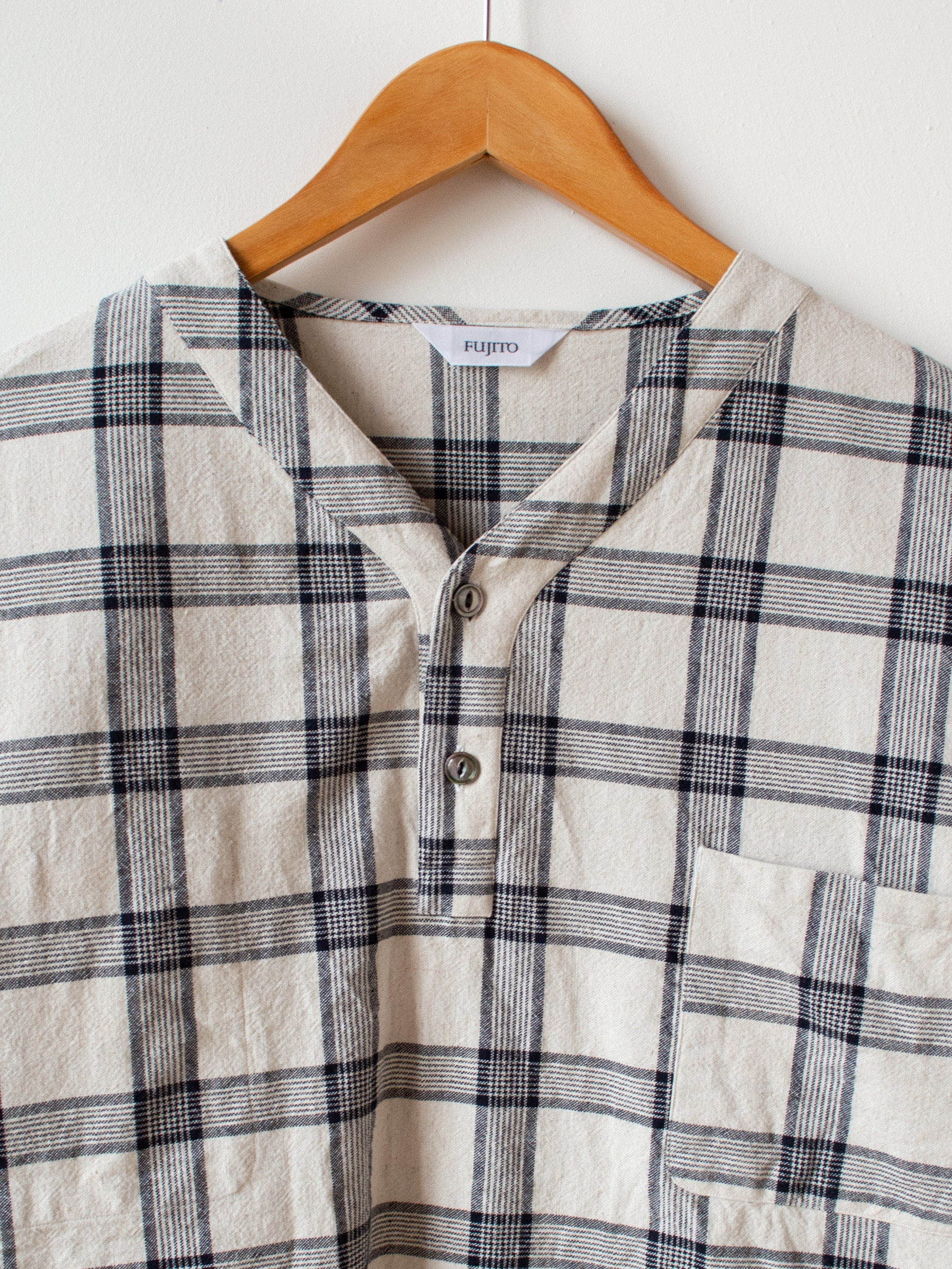 Henley Neck Shirt - White Check