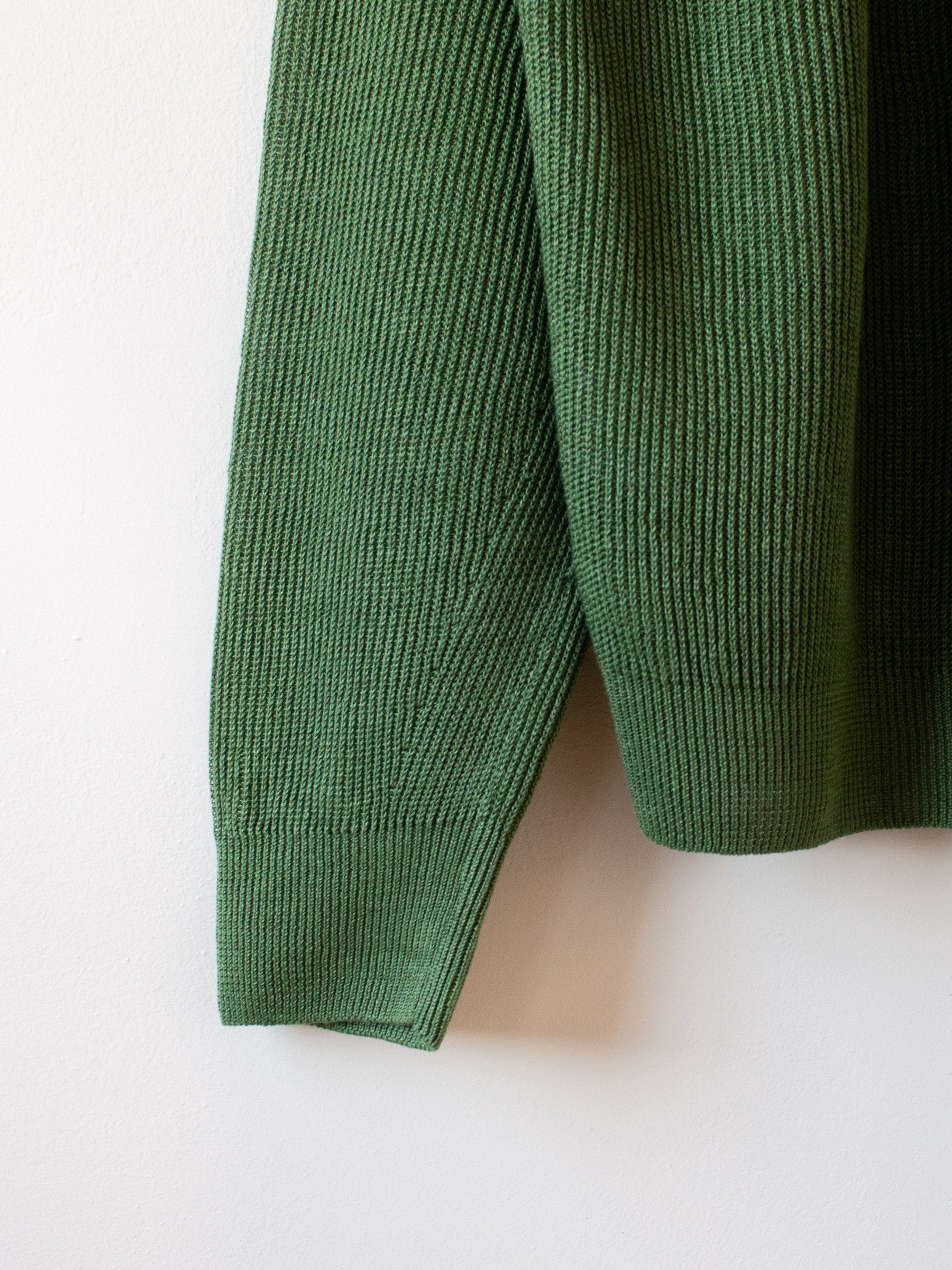 French Linen Ribbed Knit Pullover - Green