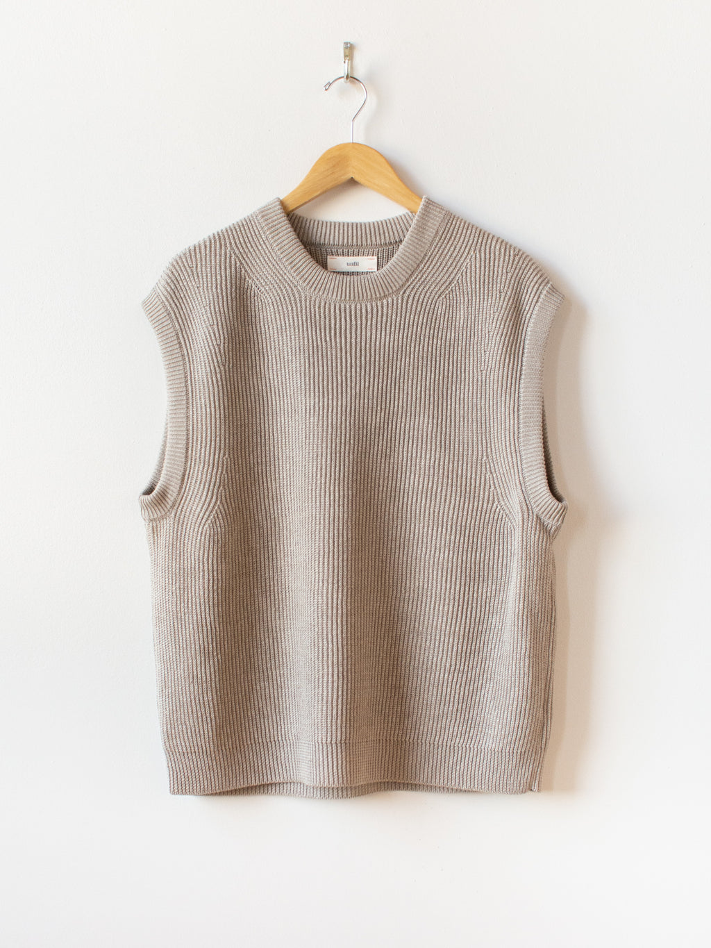 French Linen Ribbed Knit Vest - Natural
