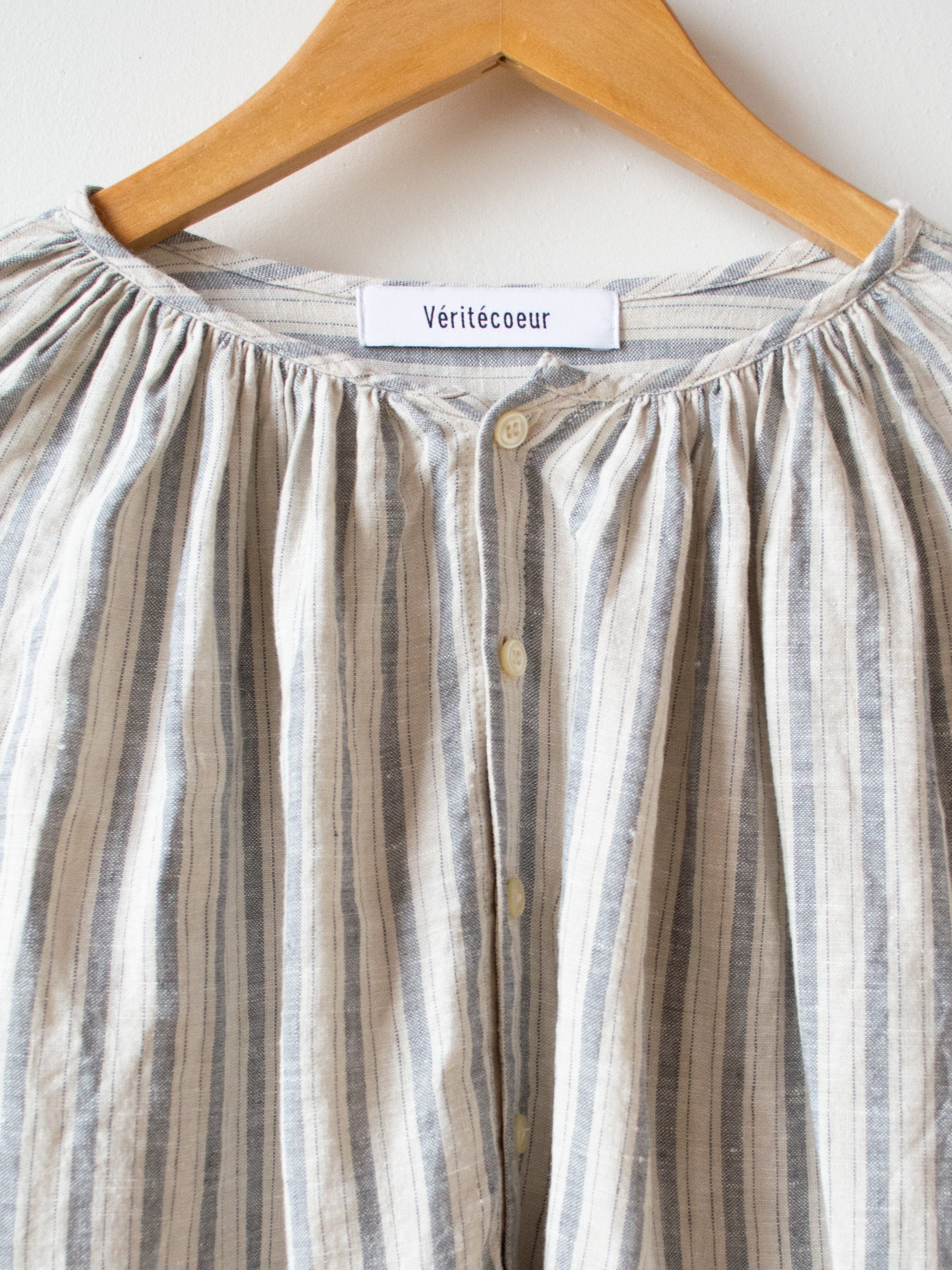 Linen Balloon Striped Shirt