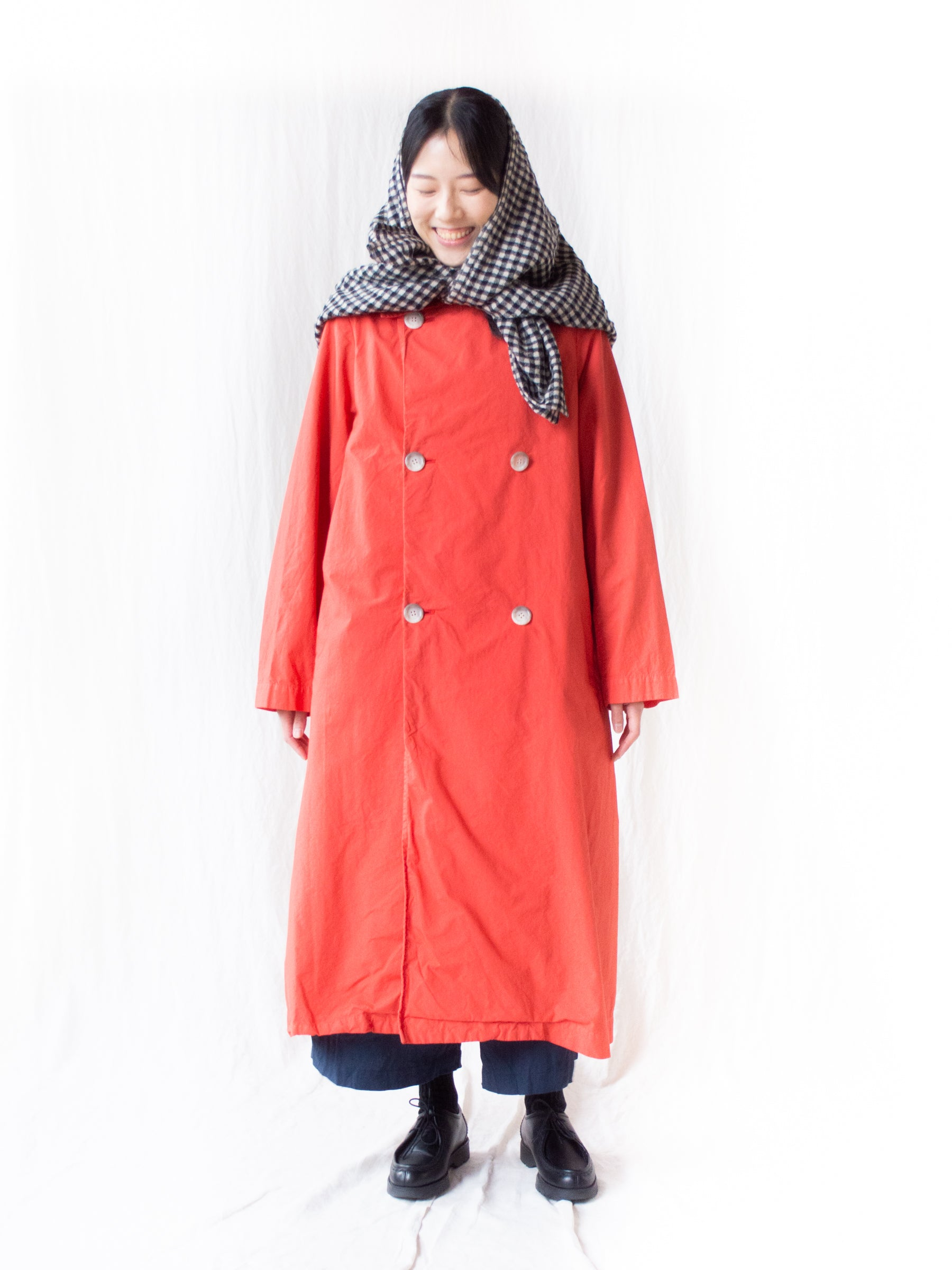 Typewriter Cotton Double Breasted Coat - Orange Red