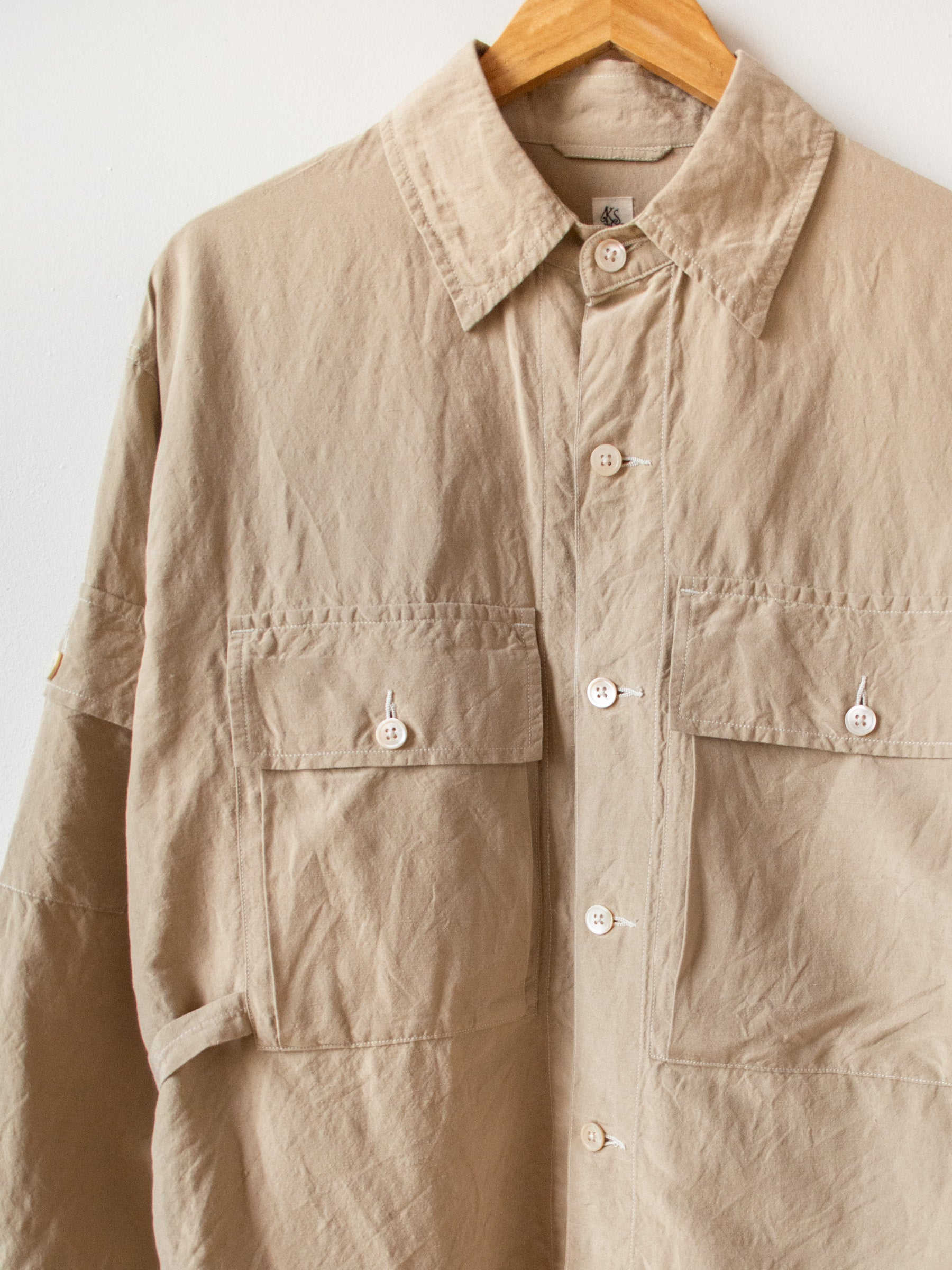 Washed Silk Linen Field Shirt Jacket - Beige