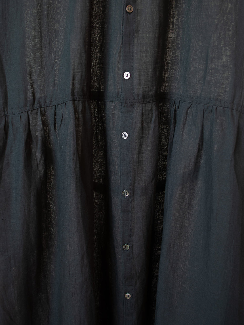 Namu Shop - Ichi Antiquites Cotton Linen Belted Gather Dress - Black