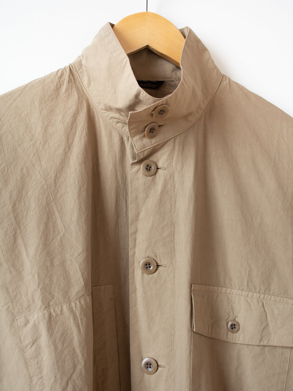 Mature Rub Cotton Long Work Shirt - Khaki