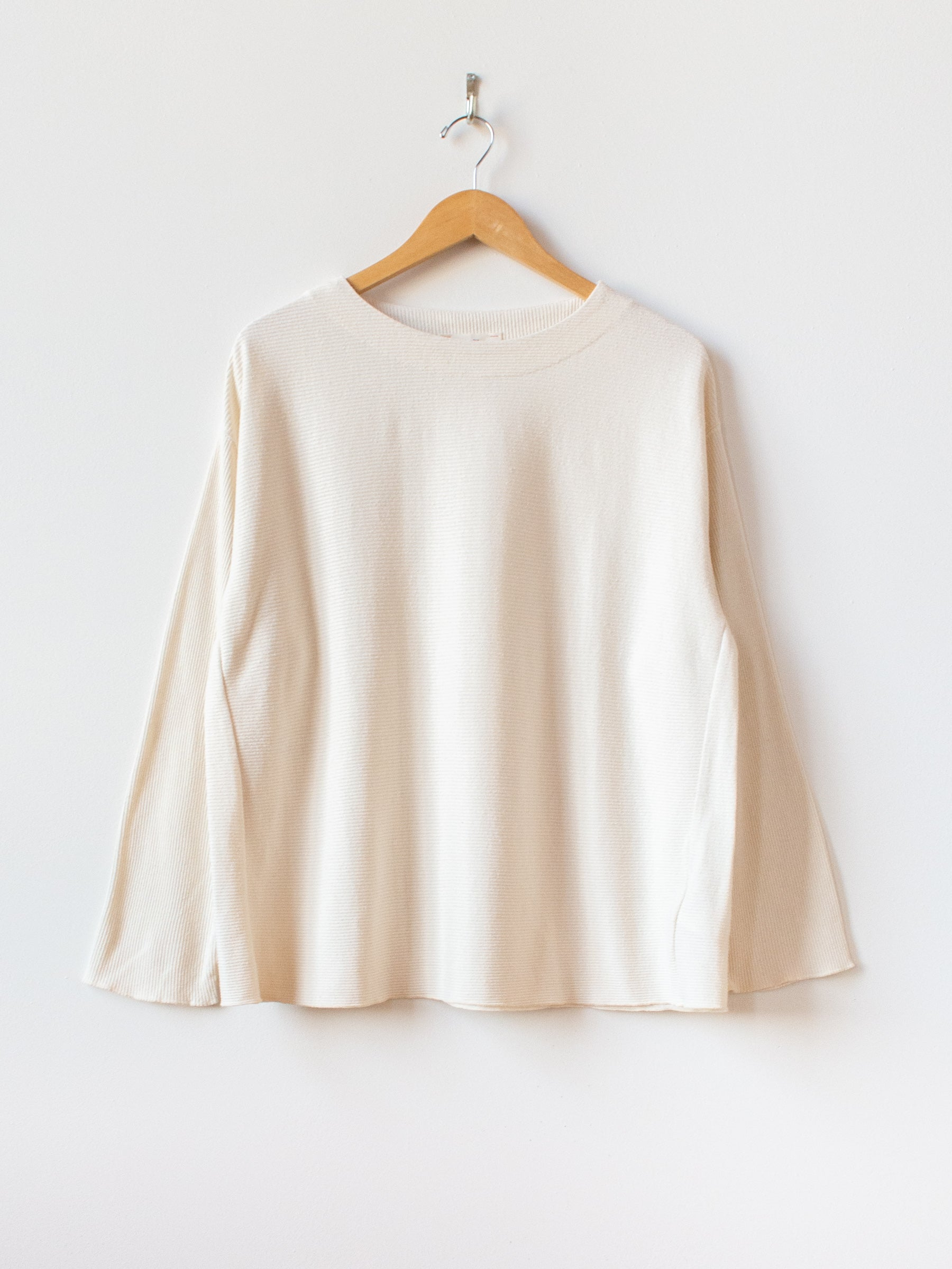 Raw Silk Ribbed Jersey Boatneck Tee - Natural