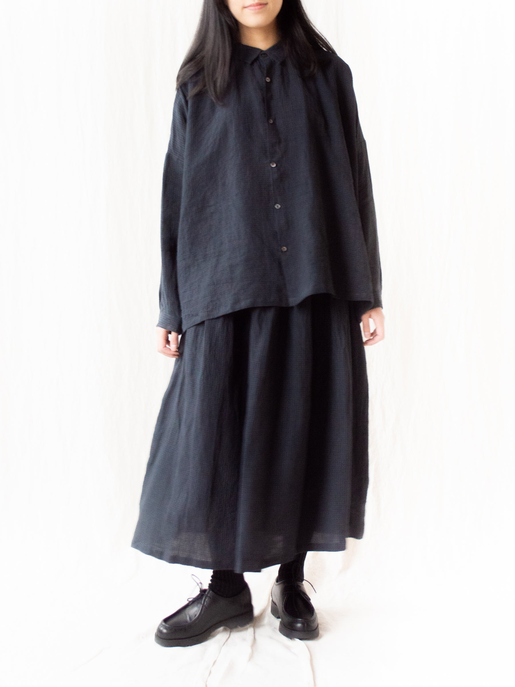 Linen AZUMADAKI Gingham Skirt - Black