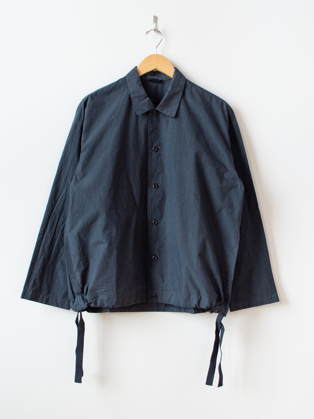 Mature Rub Cotton Coach Shirt - Ink Black