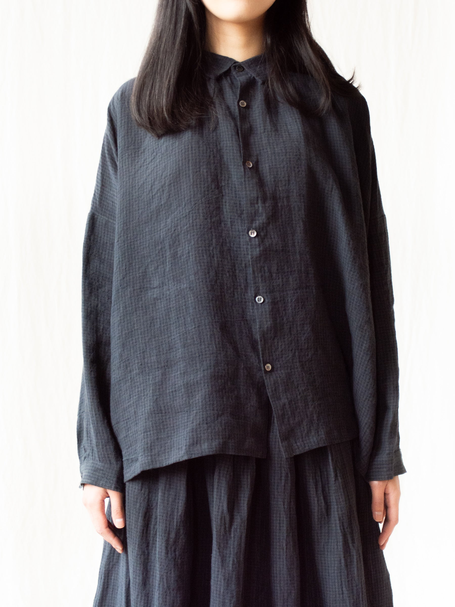 Linen AZUMADAKI Gingham Shirt - Black