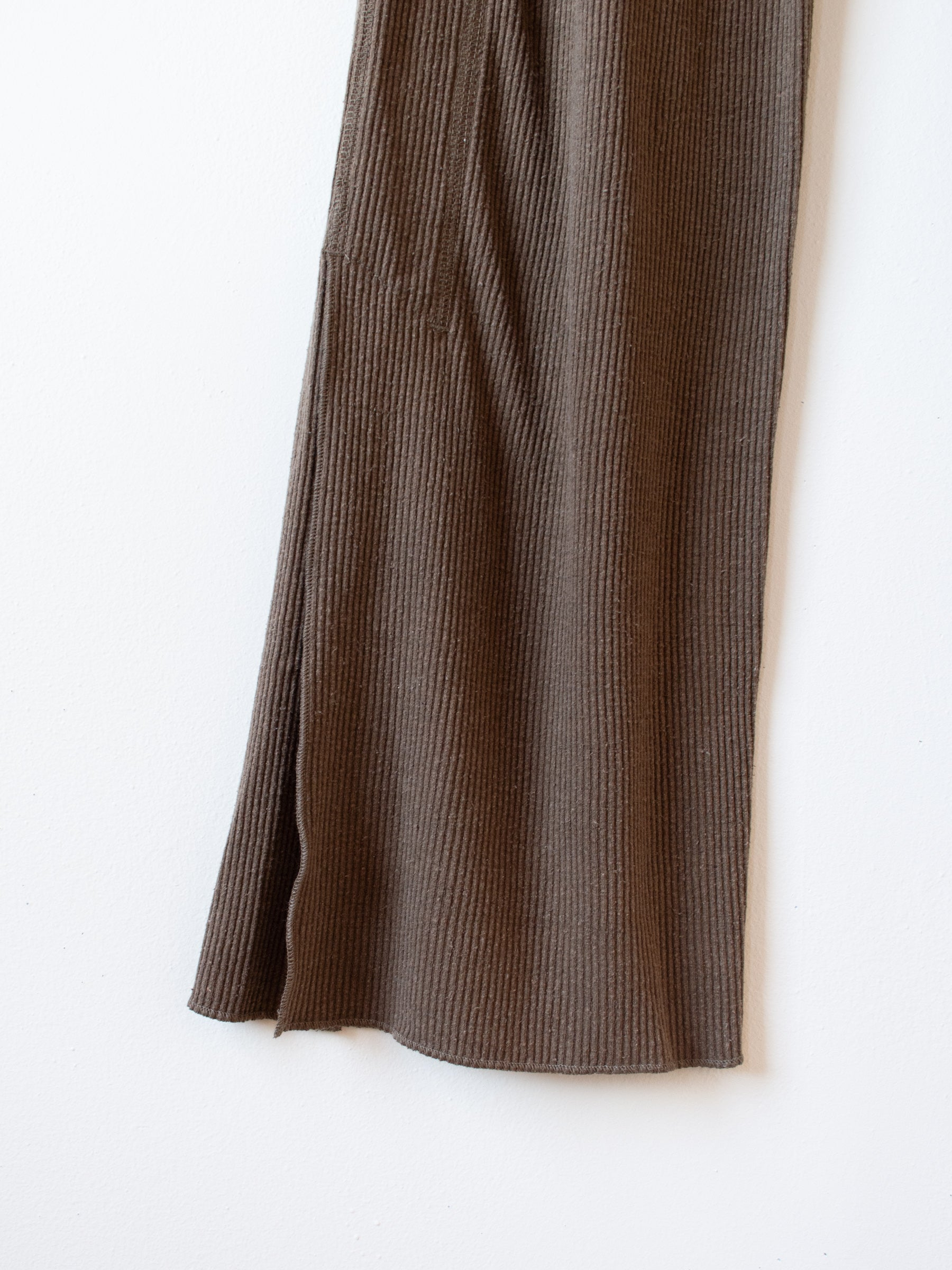 Raw Silk Ribbed Jersey Pants - Coffee Brown