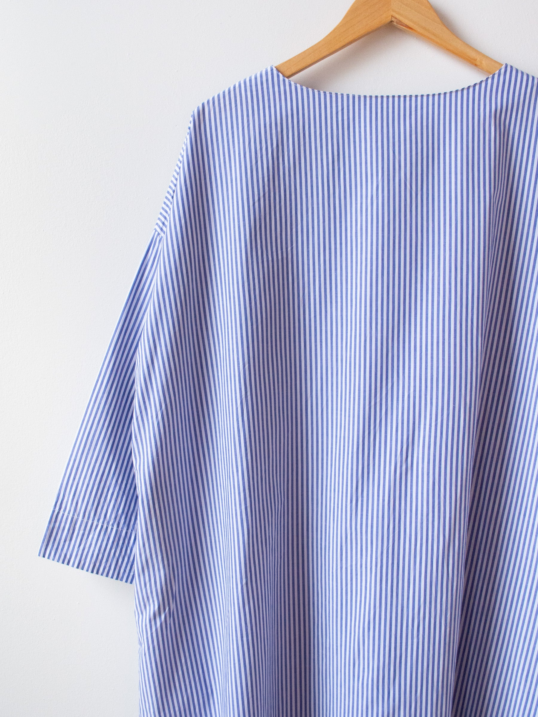 Typewriter Stripe Dress - White x Blue