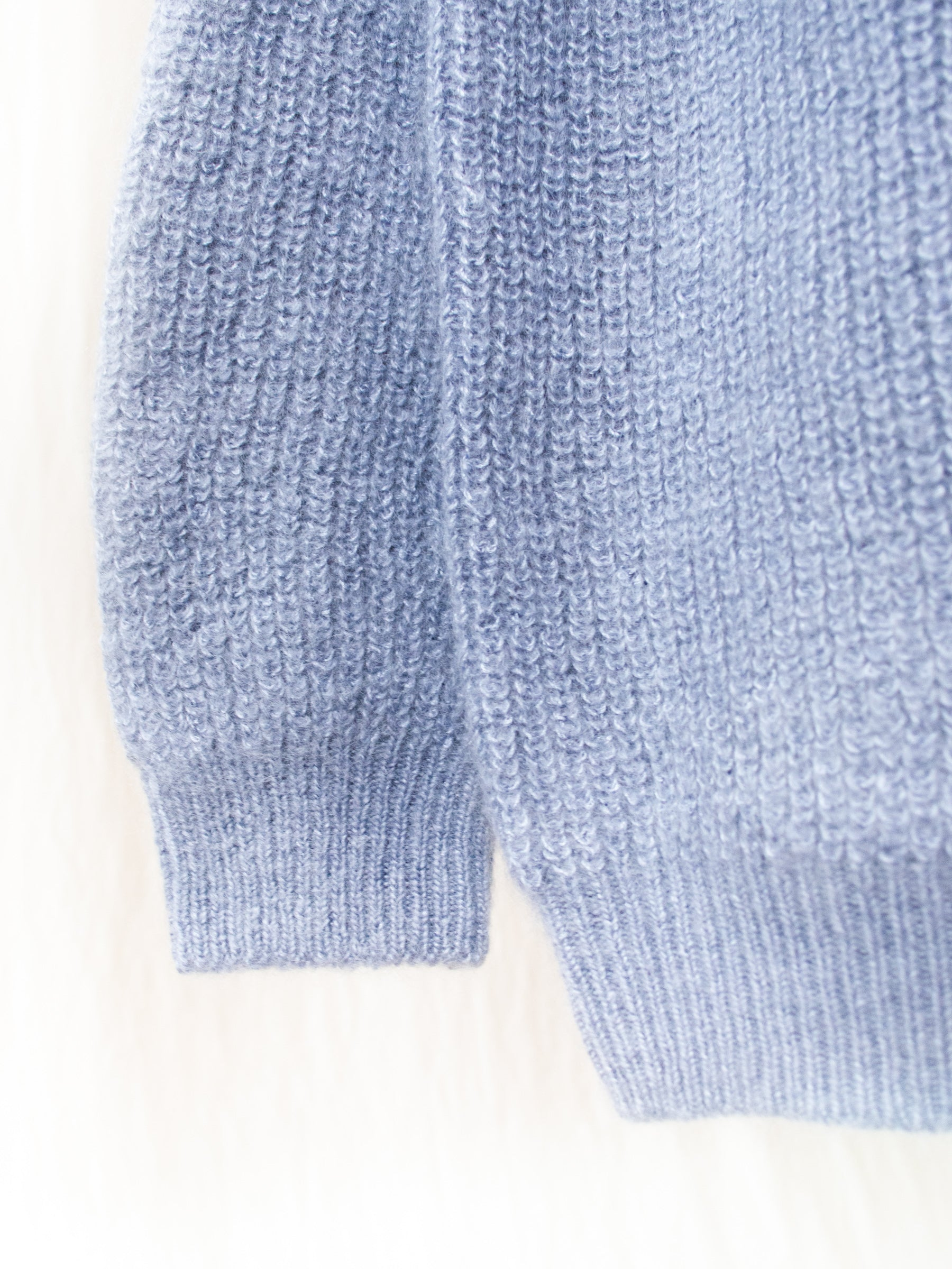 Mohair Silk Rib Stitch Sweater - Pale Blue