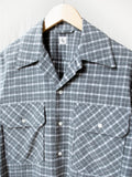 Namu Shop - Kaptain Sunshine Brushed Flannel Open Collar Shirt - Gray Plaid