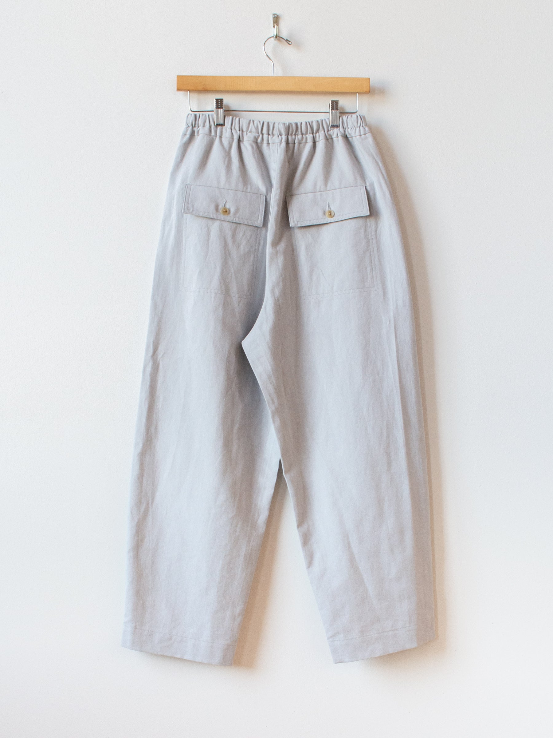 Cotton Linen Canvas Easy Trousers - Gray Blue