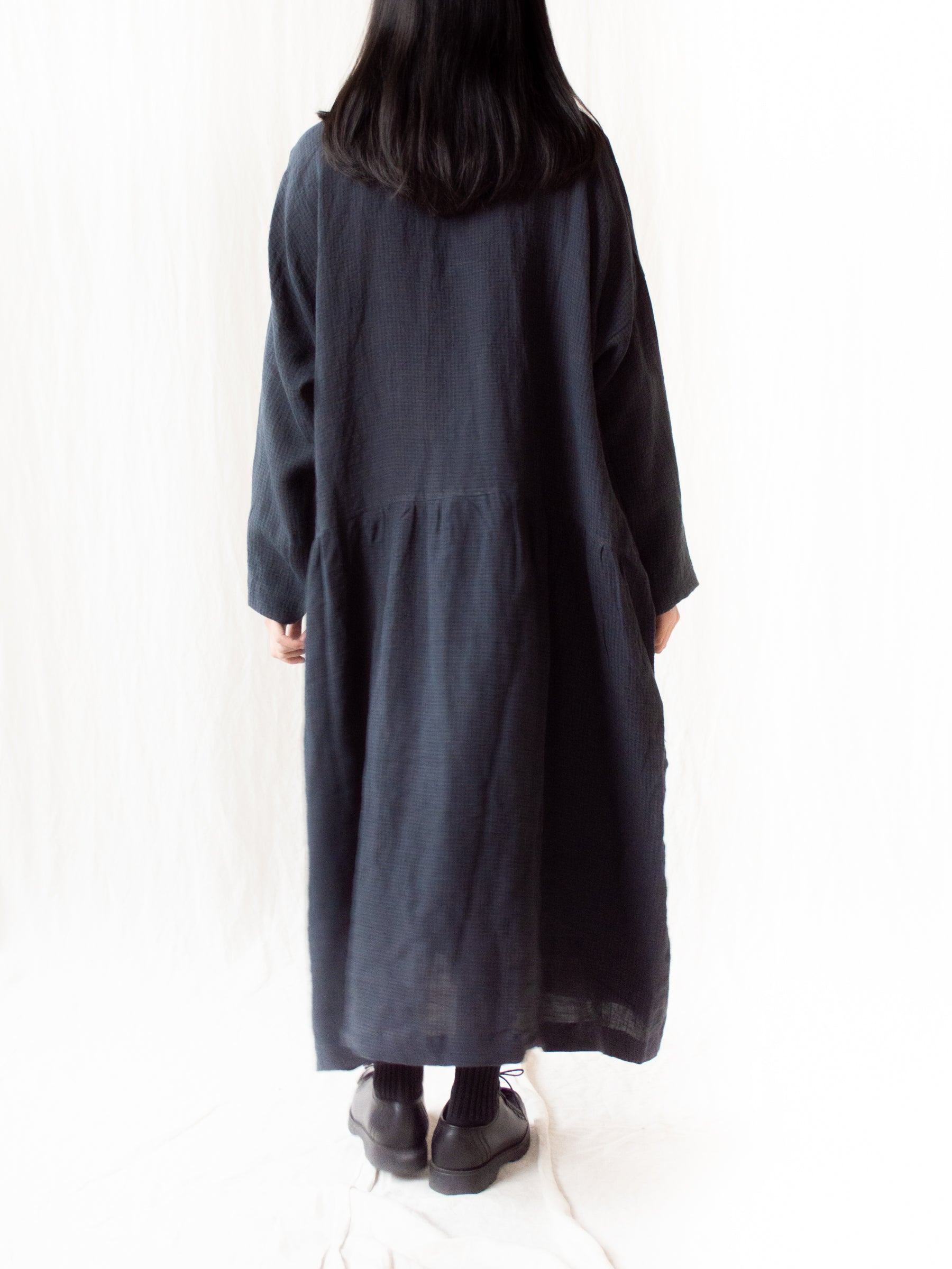 Linen AZUMADAKI Gingham Dress - Black