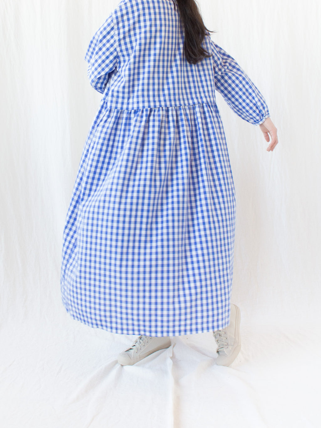 Namu Shop - Ichi Antiquites Cotton Dress - Blue Gingham