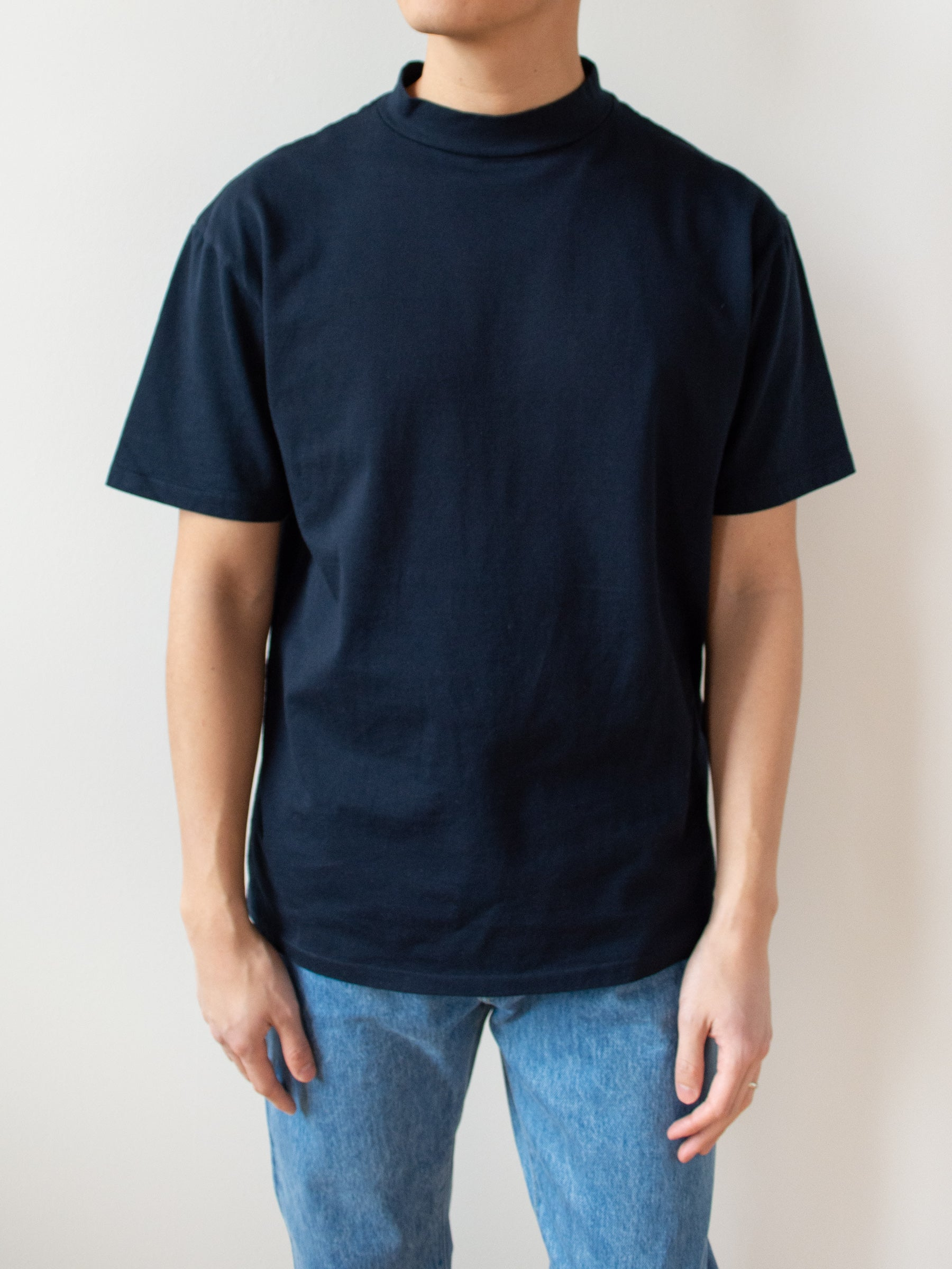 Mock Neck Tee - Navy