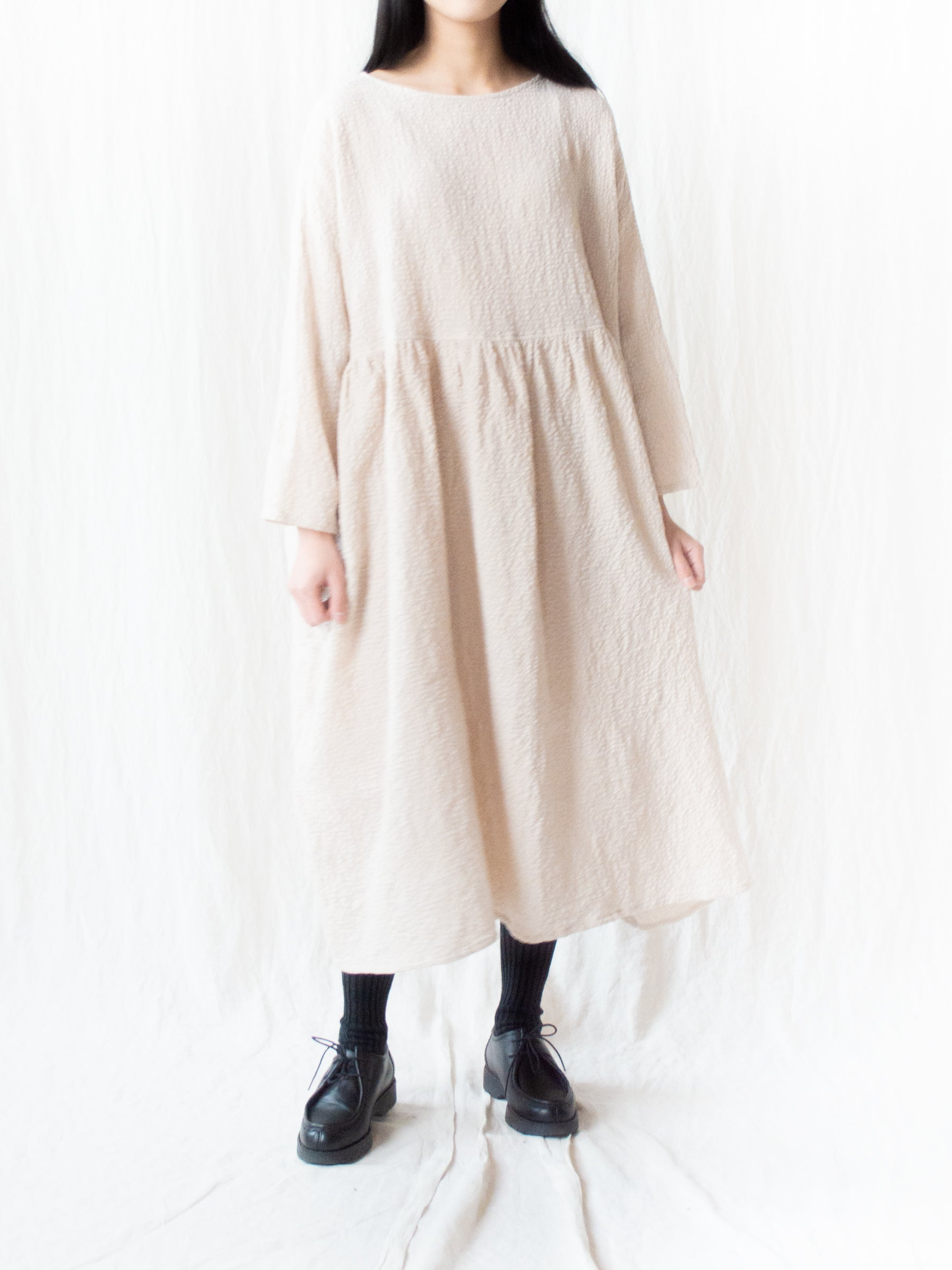 Crinkle Cotton Wool Dress - Natural