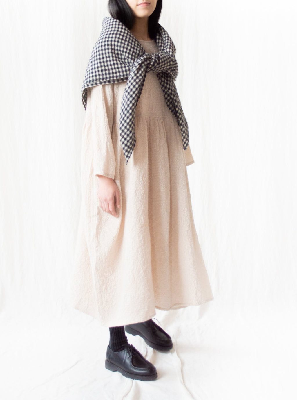 Cotton Wool Gingham Stole - Natural x Black