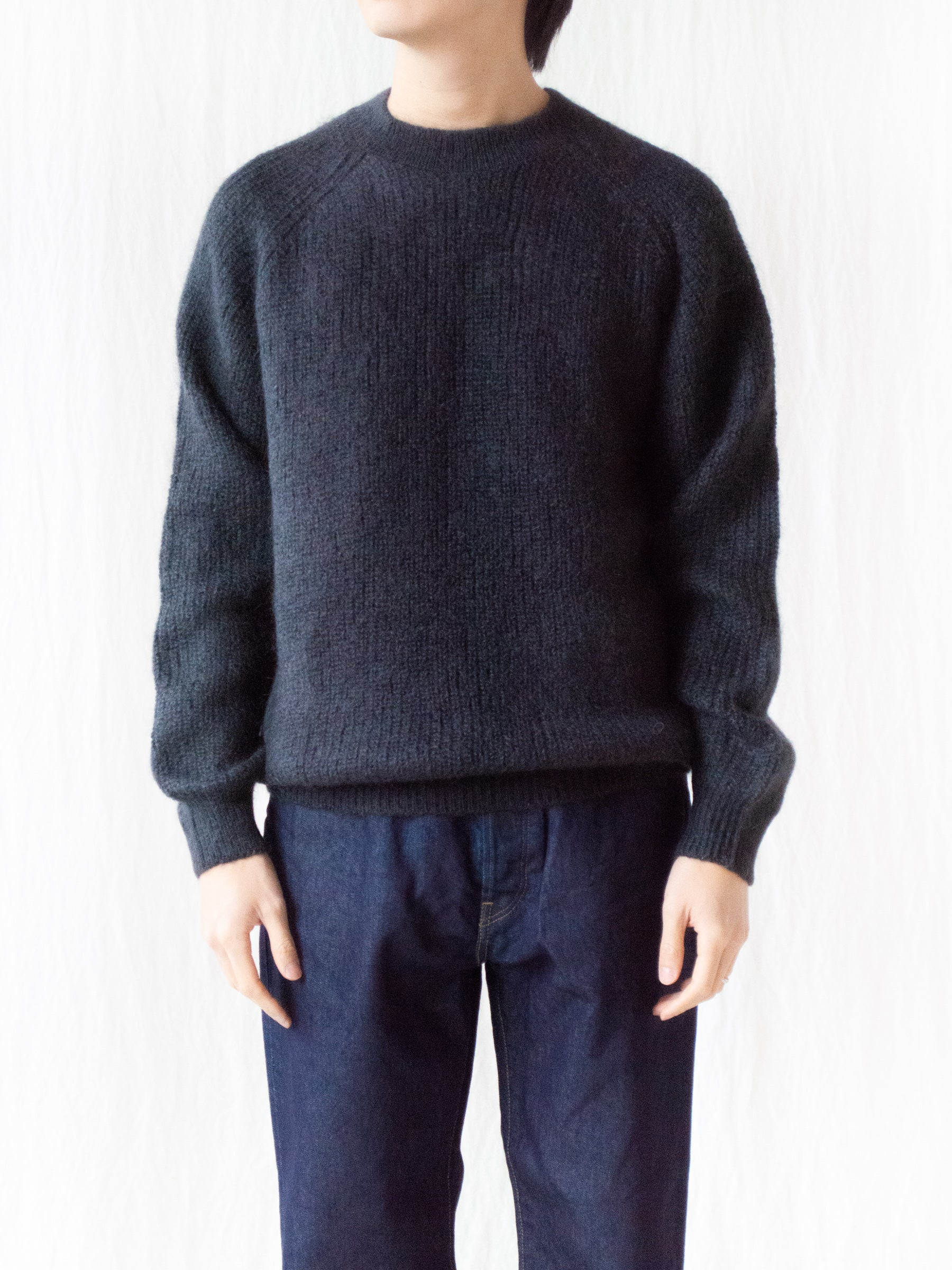 Mohair Silk Rib Stitch Sweater - Dark Gray