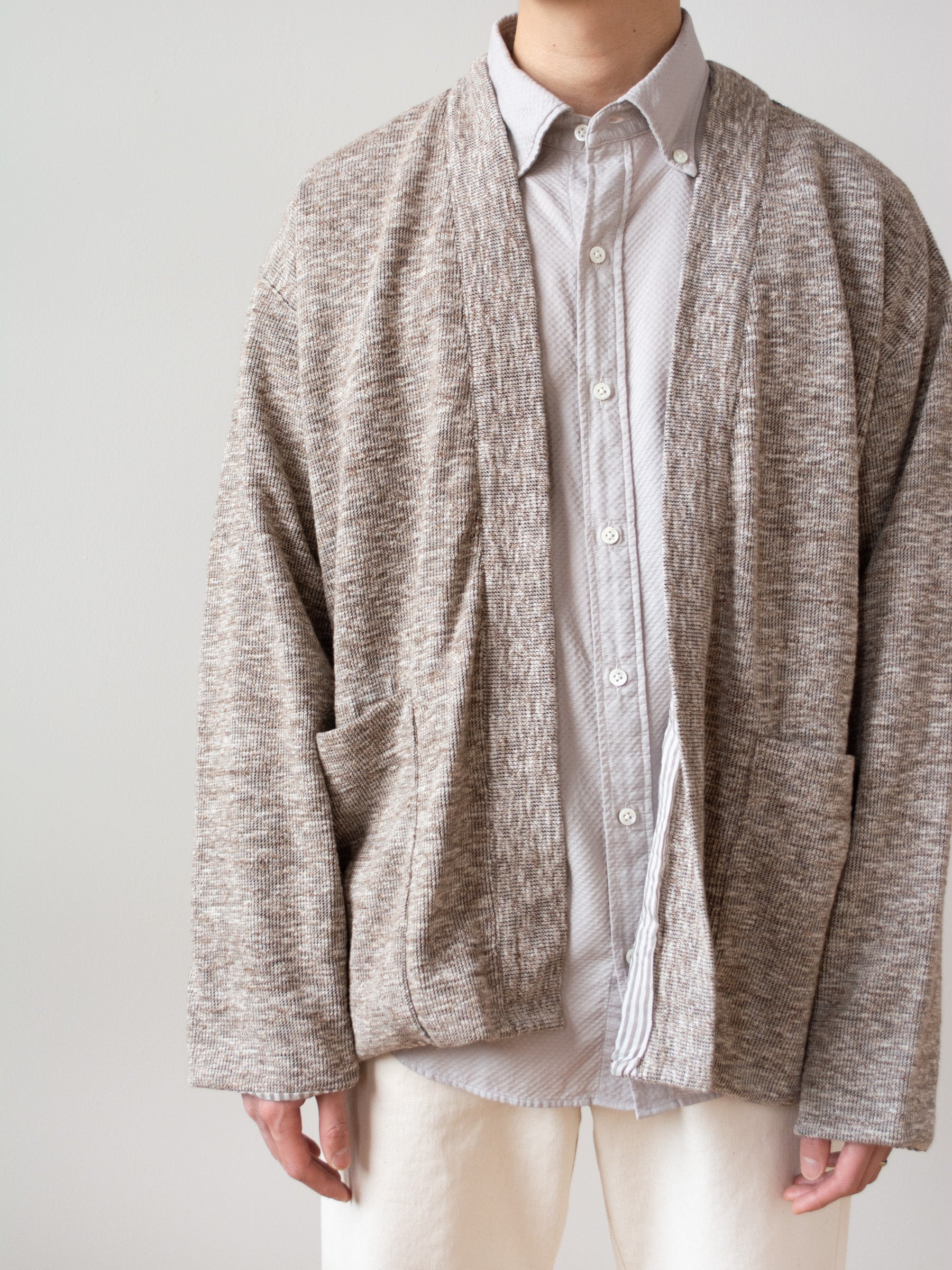 Lined Easy Cardigan - Marled Brown