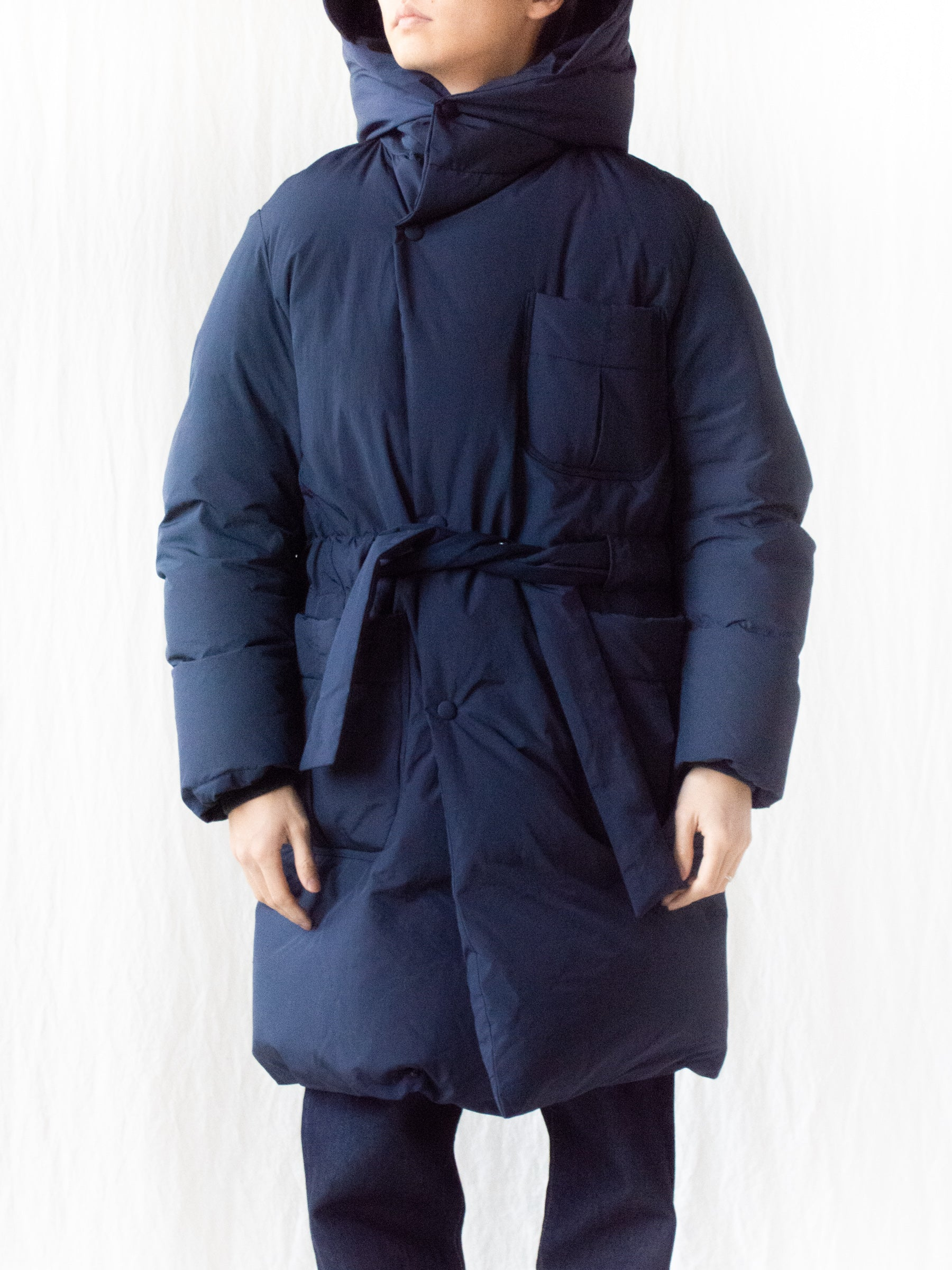 Down Robe Hooded Coat - Navy